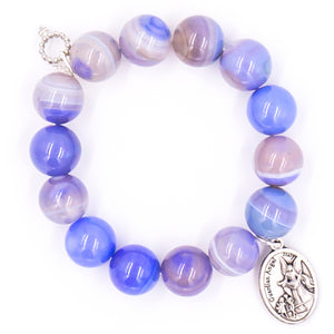 Cornflower stripe agate with silver guardian angel medal