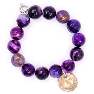 Faceted purple stripe agate with scalloped Burmese coin