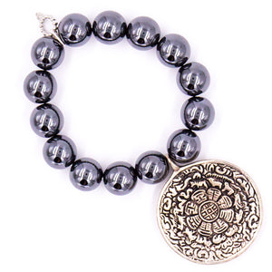 Gun metal hematite with silver prayer bowl