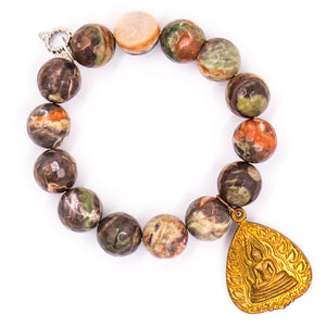 Faceted rain forest agate with bronze Nepal medal
