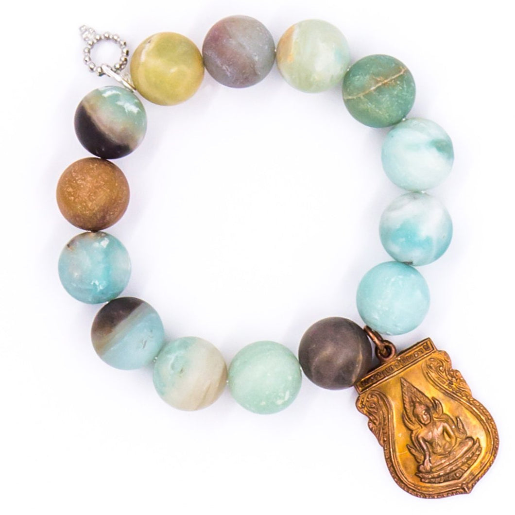 Amazonite with Brass Nepal Medal