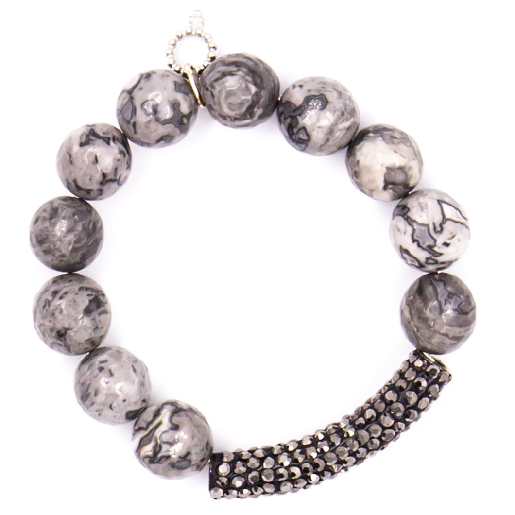 Faceted silver leaf agate with hematite pave bar