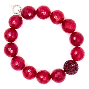 Faceted ruby jade with ruby pave