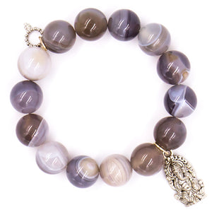 Grey stripe agate with silver Ganash medal