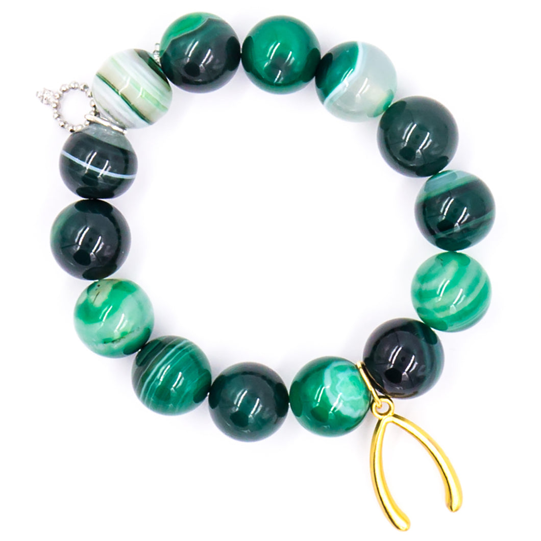 Emerald stripe agate with brass wishbone