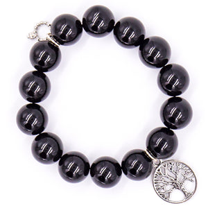 Black onyx with open silver tree of life