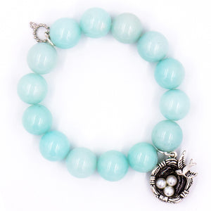 Aqua jade with silver bird's nest