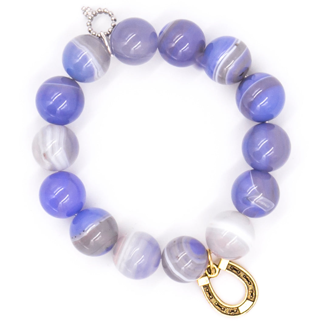 Cornflower stripe agate with brass horseshoe