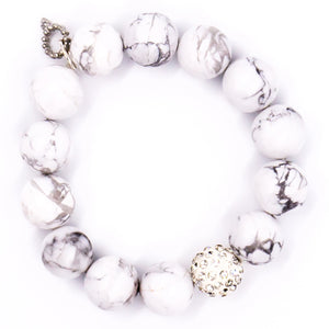Bright white howlite with clear pave