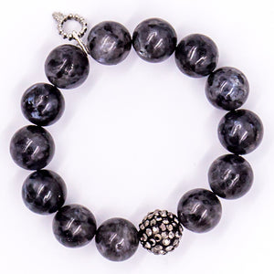 Charcoal gray jasper with hematite pave