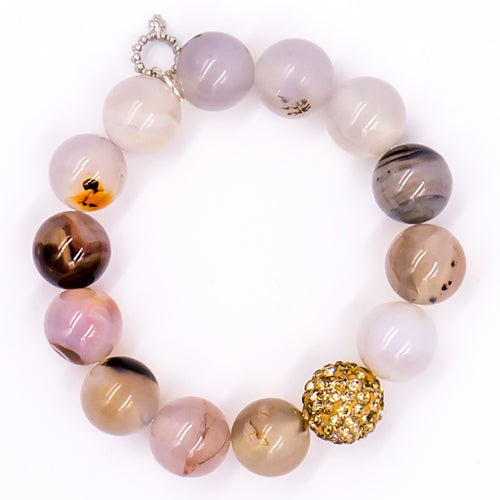 Cobblestone agate with rose god pave