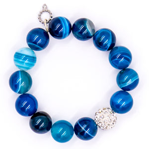 Blue stripe agate with clear pave