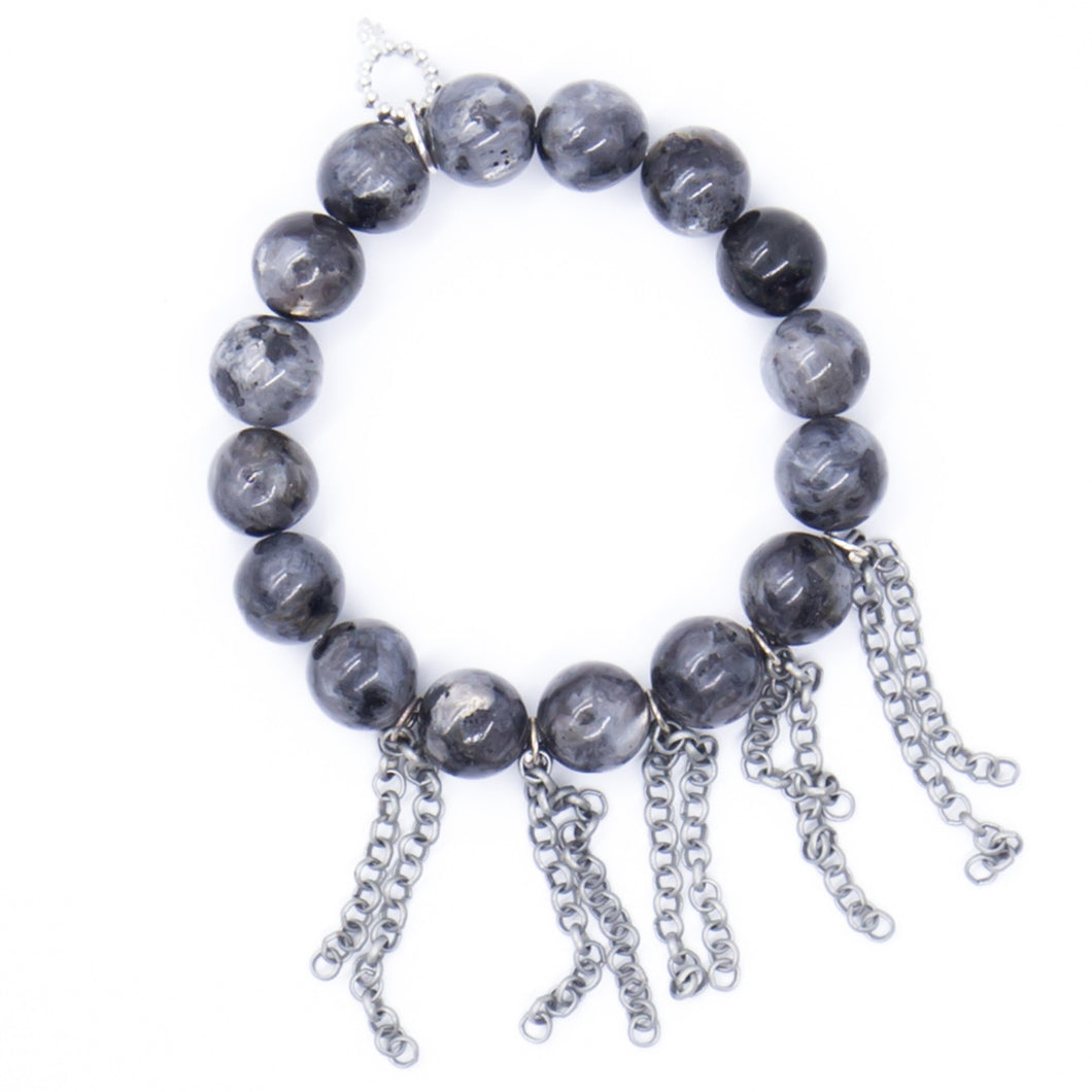Charcoal gray jasper with silver fringe chain