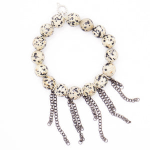 Dalmatian with gunmetal fringe chain