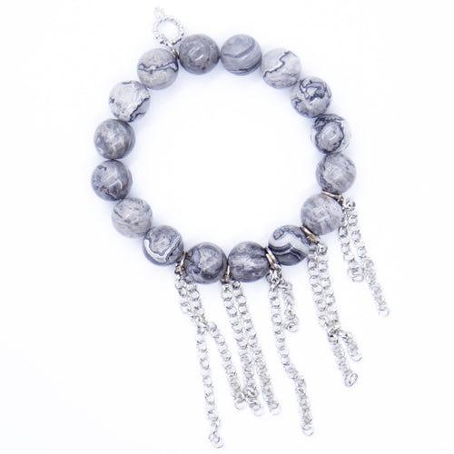 Faceted silver leaf agate with silver fringe chain