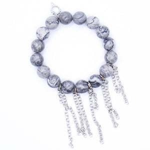 Silver leaf agate with silver fringe chain