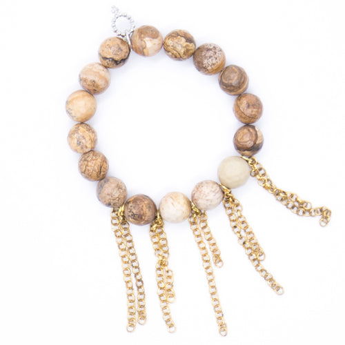 Faceted picture jasper with brass fringe chain