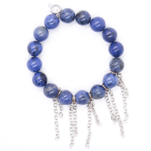 Dumortierite with silver fringe chain