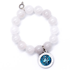 White translucent jade with blue enameled St. Christopher medal