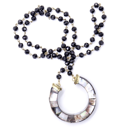 Black onyx with gray abalone pendant