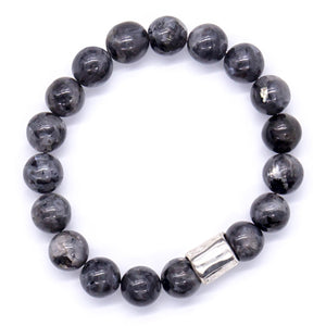 Men's Charcoal gray Jasper with silver accent