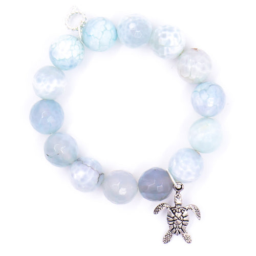Aquamarine agate with silver turtle medal