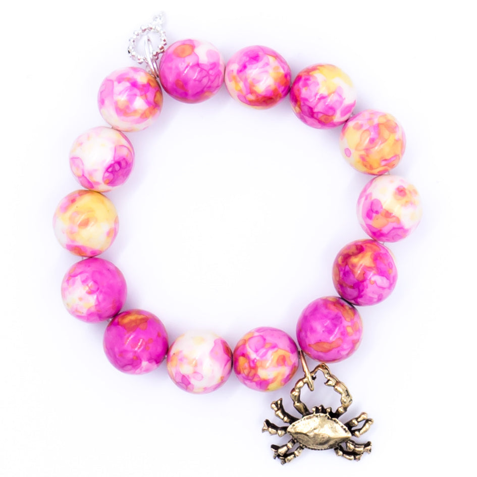 Fiji pink agate with silver crab medal