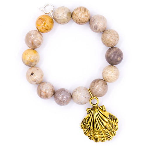 Fossil coral with brass shell medal