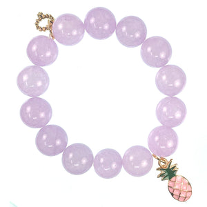 Lavender jade paired with a pink enameled pineapple