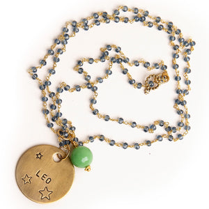Blue quartz rosary chain necklace with spring green agate accent and hand stamped bronze Leo medal