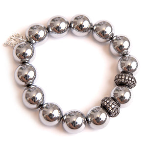 Silver hematite paired with gunmetal rhondelles
