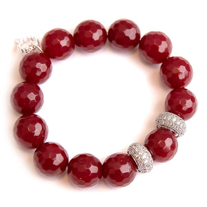 Faceted ruby red jade paired with silver rhondelles