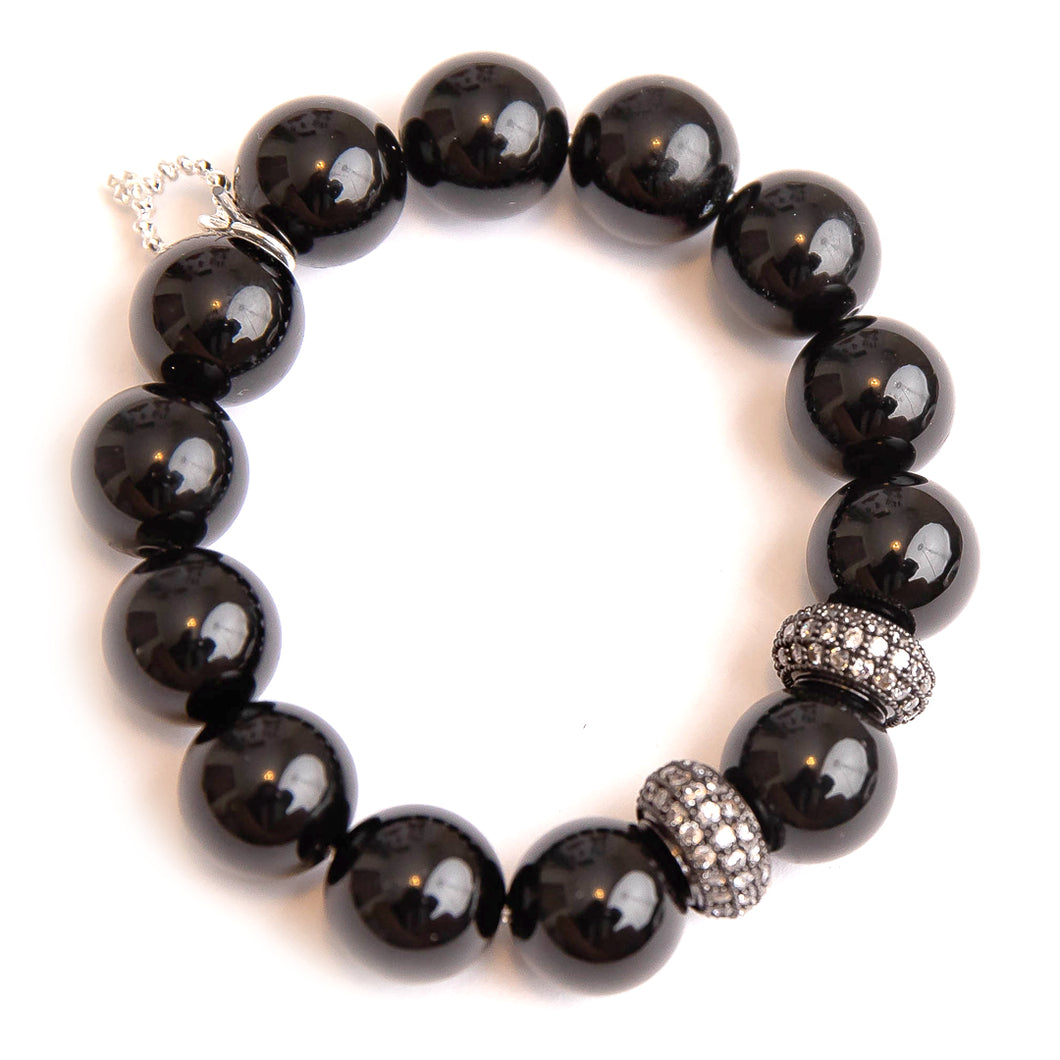 Black onyx paired with gunmetal rhondelles