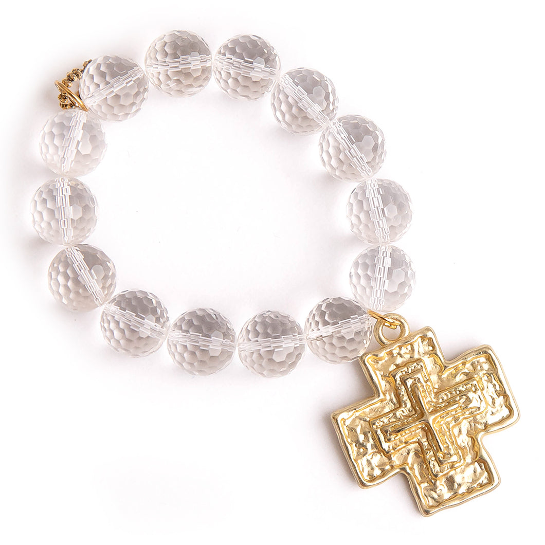 Faceted clear quartz with large brushed gold cross