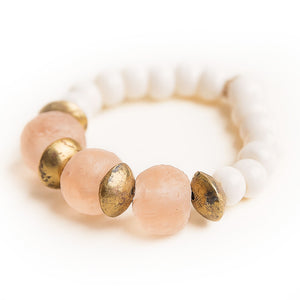 Blush sea glass paired with brass Ethiopian brass accents and hand carved bone beads