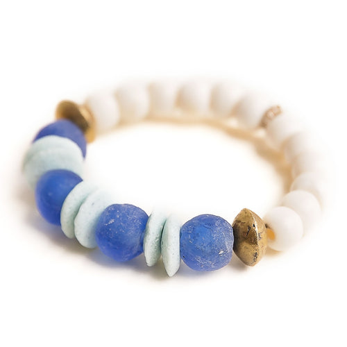 Cerulean blue sea glass paired with Ethiopian brass accents and