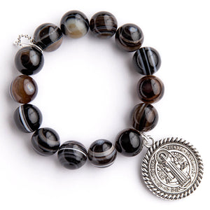 Brown striped agate paired with a large Saint Benedict medal