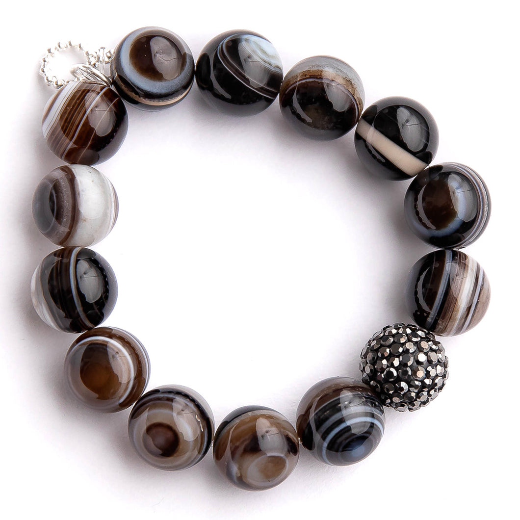 Smoked striped agate paired with a gunmetal pave