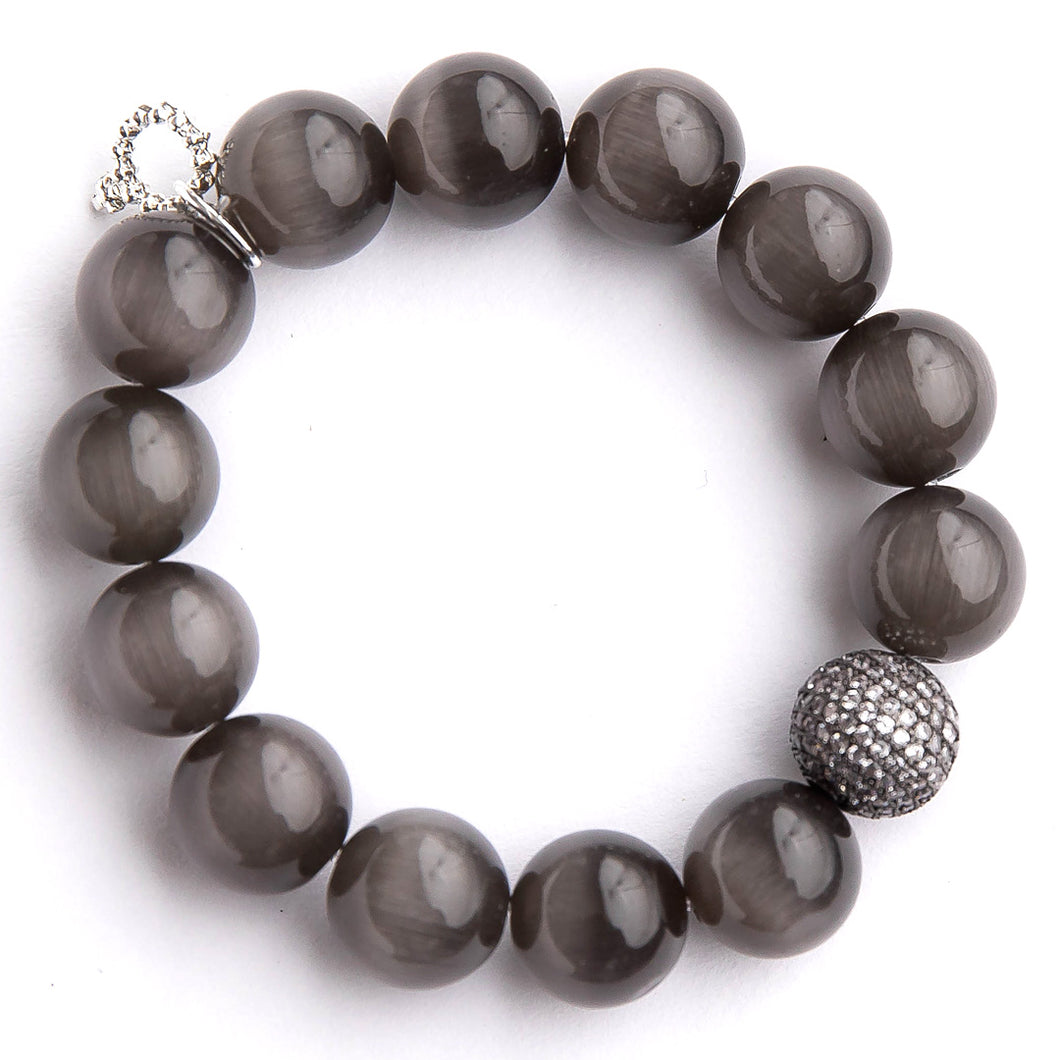 Black calcite paired with a gunmetal micropave