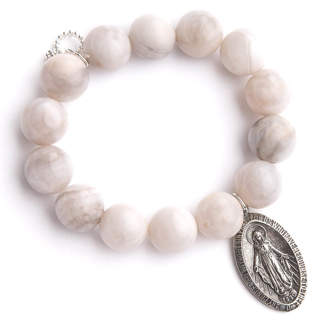 Marshmallow agate paired with a Blessed Mother medal an exclusively cast medal from jen's personal vintage collection