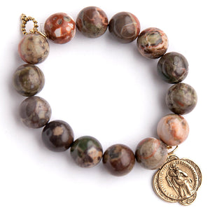 Rainforest agate paired with a Saint Christopher medal an exclusively cast medal from jen's personal vintage collection
