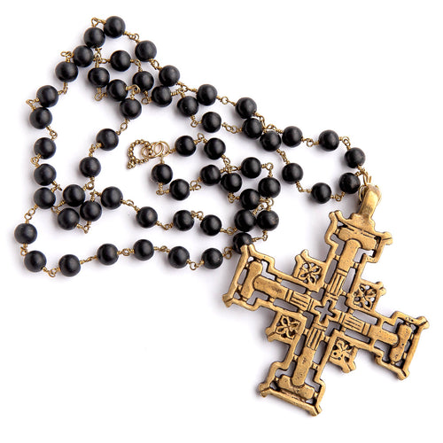 Matte black onyx rosary chain necklace with large brass Jerusalem cross
