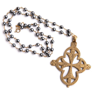 Faceted gunmetal hematite rosary necklace with large brass Nepalese cross
