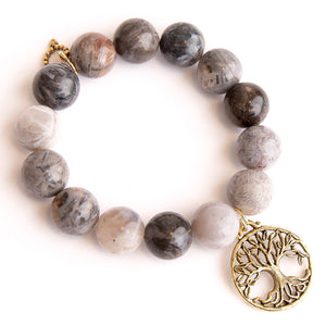 Cathedral agate paired with a large bronze open vein tree of life