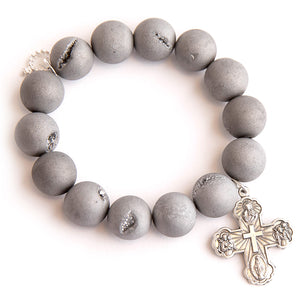 Matte grey druzy agate paired with a silver cross