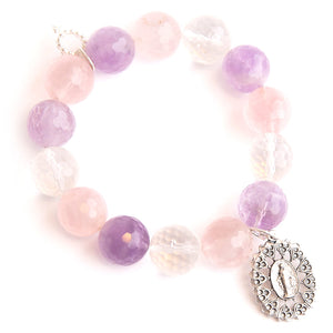 Lavender field quartz paired with an ornate Blessed Mother medal