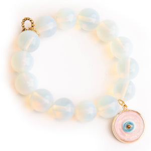Opalite paired with a blush pink glass evil eye