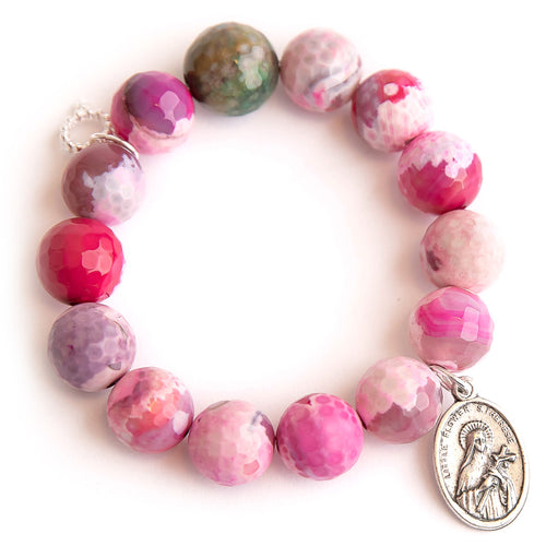 Pink lemonade agate paired with an oval Little Flower Saint Therese