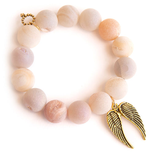Champagne druzy agate paired with double brass angel wings