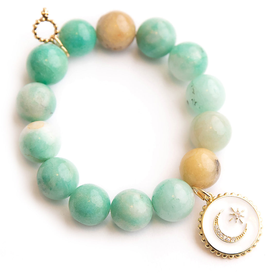 Spearmint amazonite paired with enameled celestial medal